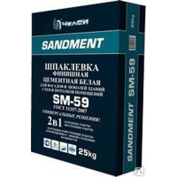 """См Шпаклевка """"Sandment"""" SM-59 цем. белая финиш 25кг"""