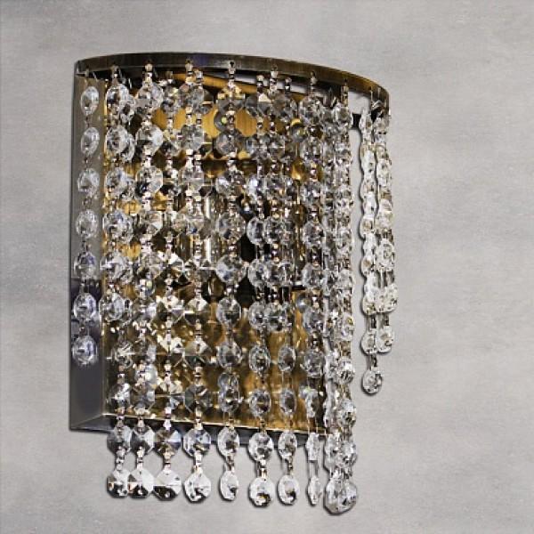 Св-к E0852/2W AB античная бронза/хрусталь 2х40W E27 LED-WH d200 h220,QH14