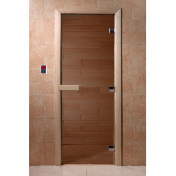 "Дверь банная ""Бронза""190х70, 6мм, бронза 2 петли, коробка хвоя (3388609)"