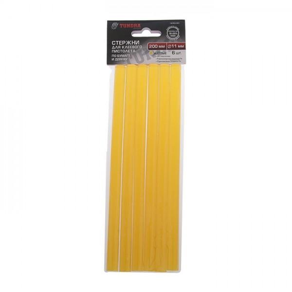 Стержни клеевые, д.11х200мм, желтые по бумаге и дереву 6шт(1290481)