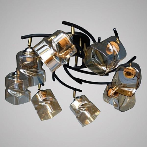 Св-к Люстра D2208/8 AB+BK бронза/черный 8х60W E27 d750 п/м, XLD1