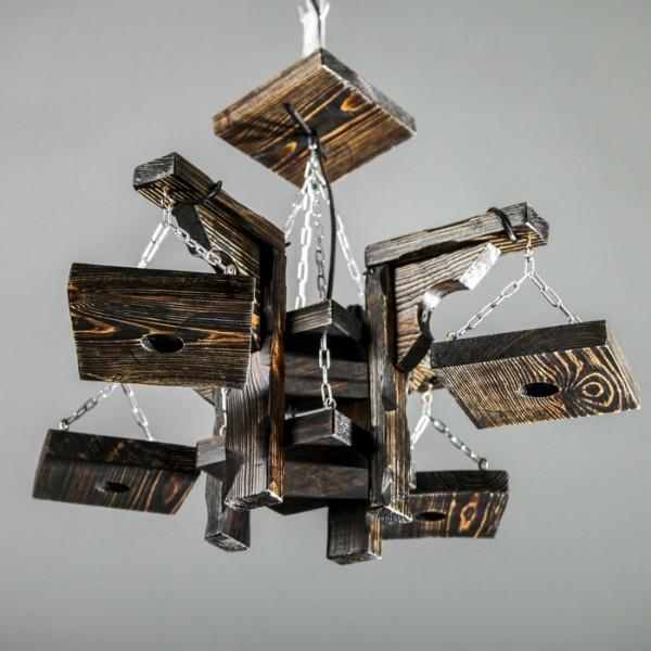 """Св-к Люстра деревянная """"Барракуда"""", 4 лампы, цвет палисандр(2734456)"""