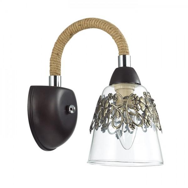 Св-к Бра TEONA E14 1х60W 220V кофе/стекло/метал.декор/канатн.веревка (2136501)
